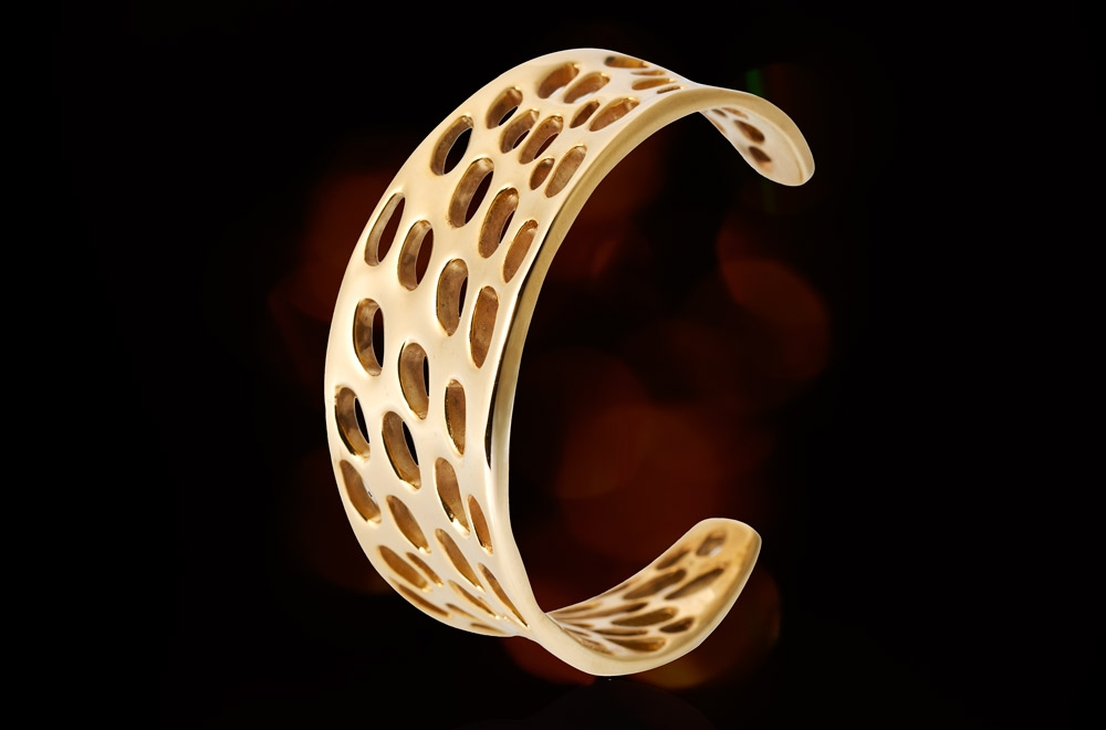 Yellow Gold Bangle. Electroforming Gold